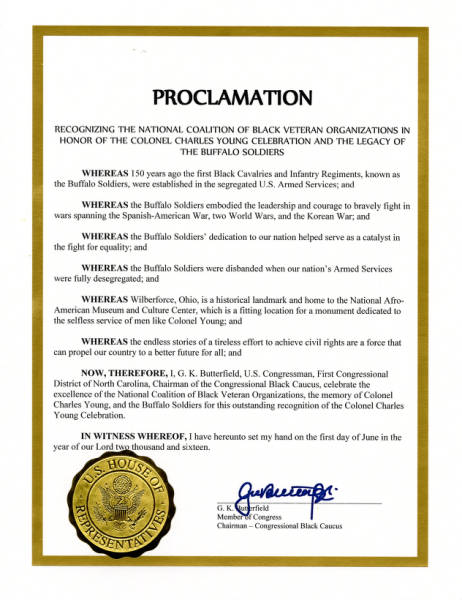 Recognition of the Colonel Charles Young Celebration Proclamation