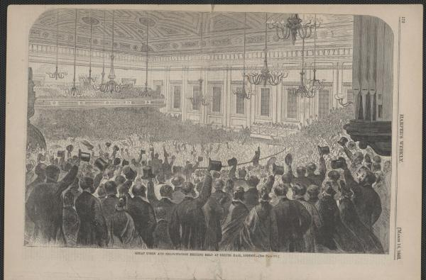 'Great Union and Emancipation Meeting Held at Exeter Hall, London' illustration