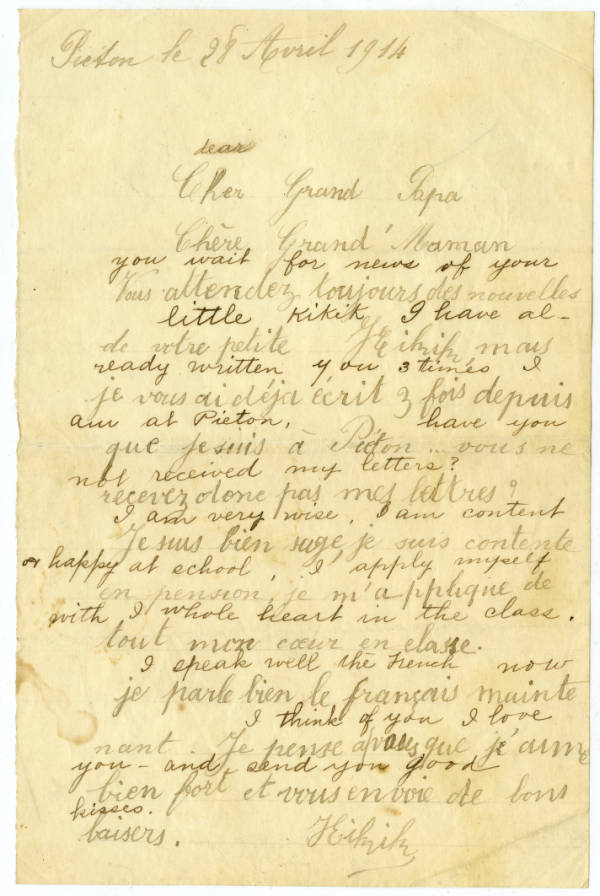 Marie Young letter to her grandfather, April 28, 1914