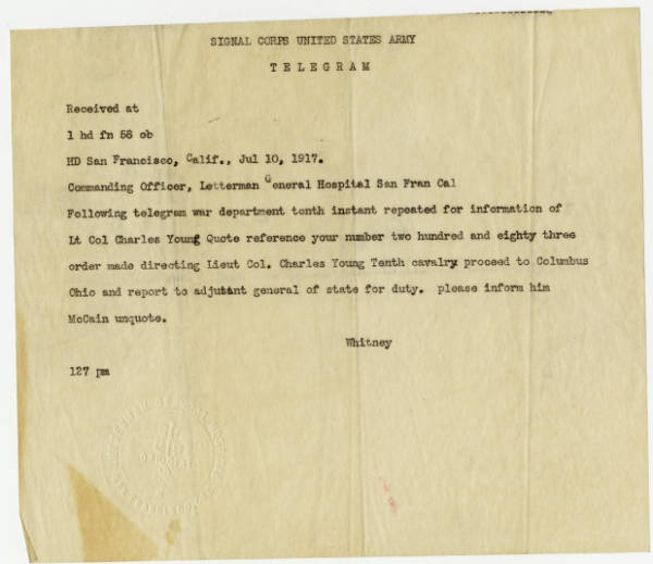 U.S. Army telegram regarding Colonel Charles Young, July 10, 1917