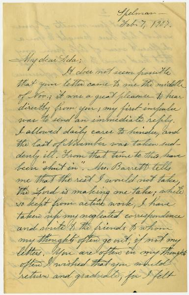 C. M. Grover letter to Ada Young, February 7, 1907