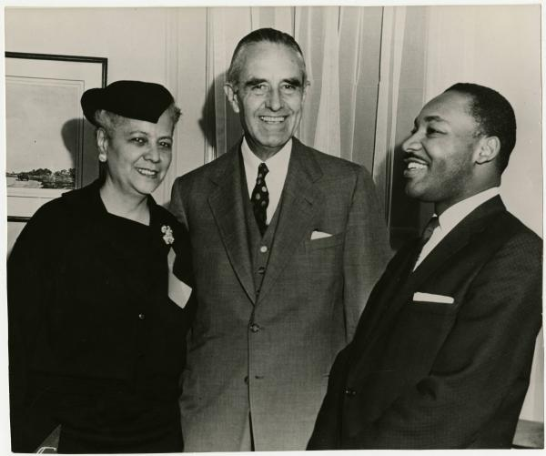 Anna Arnold Hedgeman, Martin Luther King, Jr. and Averell Harriman photograph