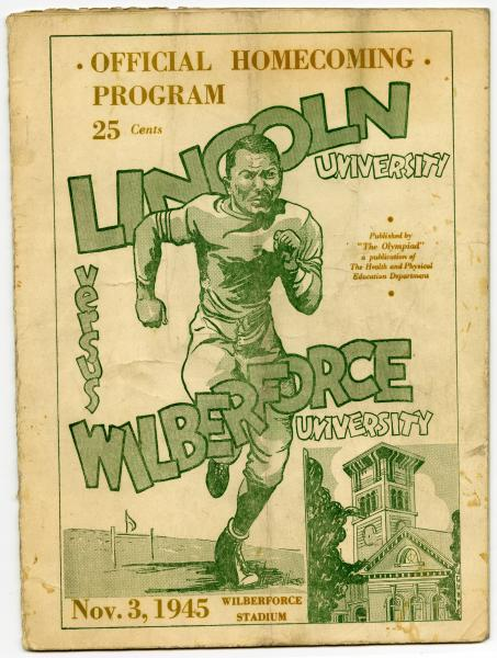 Wilberforce University versus Lincoln University homecoming football game official program