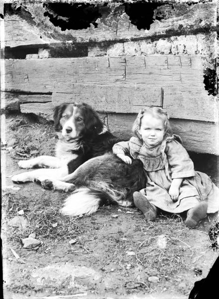 Little girl and dog photograph