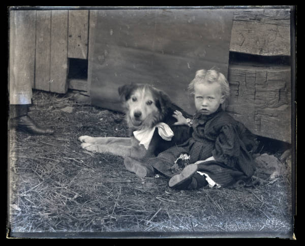 Toddler with dog portrait