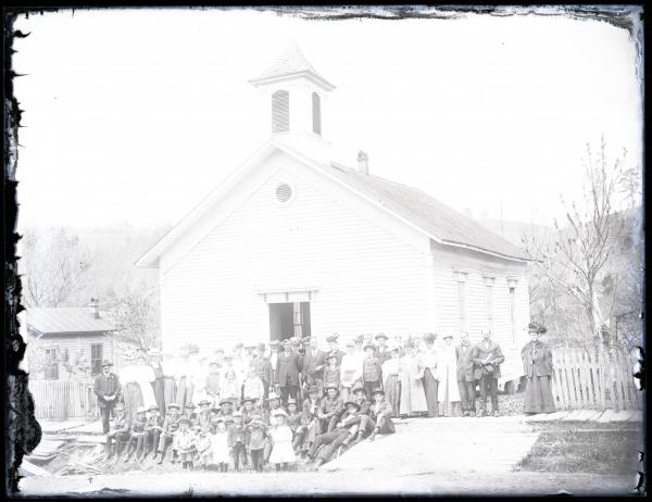 Townspeople outside of church
