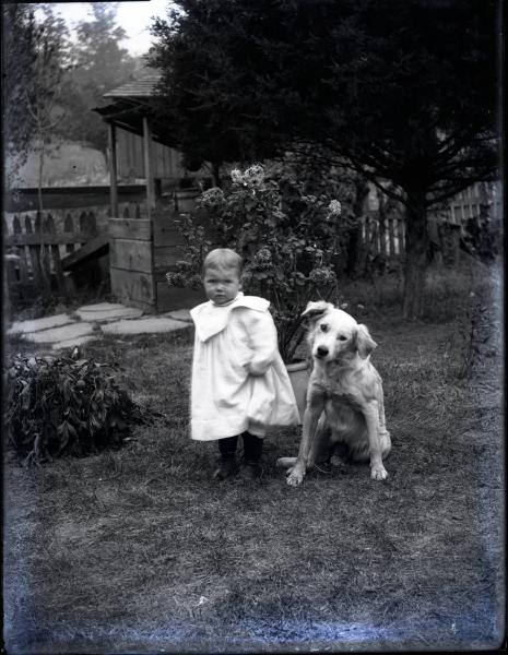 Child and dog photograph