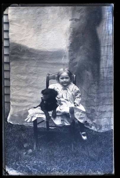 Child with dog portrait