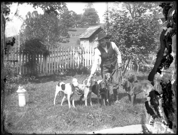 Man with six dogs