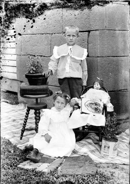 Young girl and boy photograph