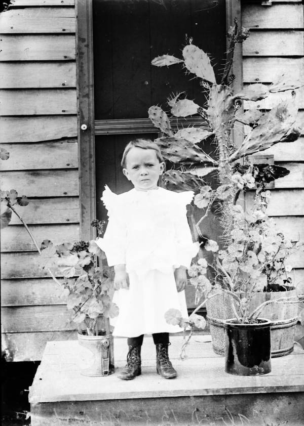 Young child and plants portrait