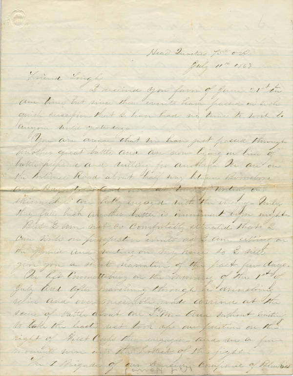 Andrew L. Harris letter dated July 11, 1863