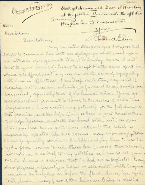 Caroline M. Victor Letter to Mrs. Mina Miller Edison Regarding Invention of Hearing Aid