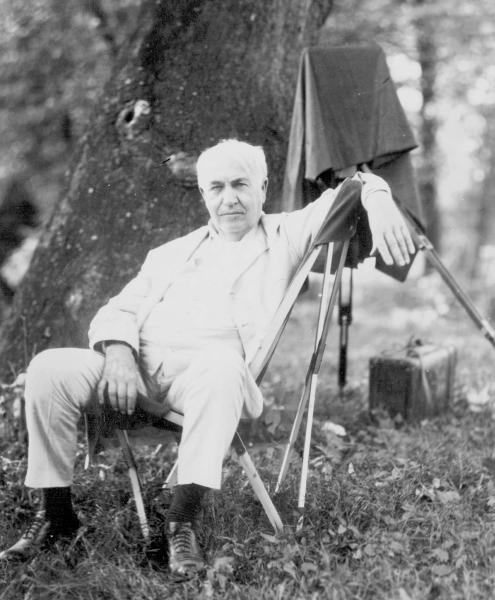 Thomas Edison on camping trip photograph