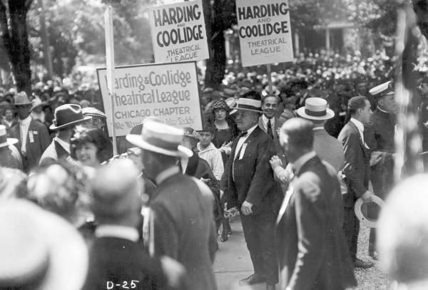 Harding and Coolidge Theatrical League signs