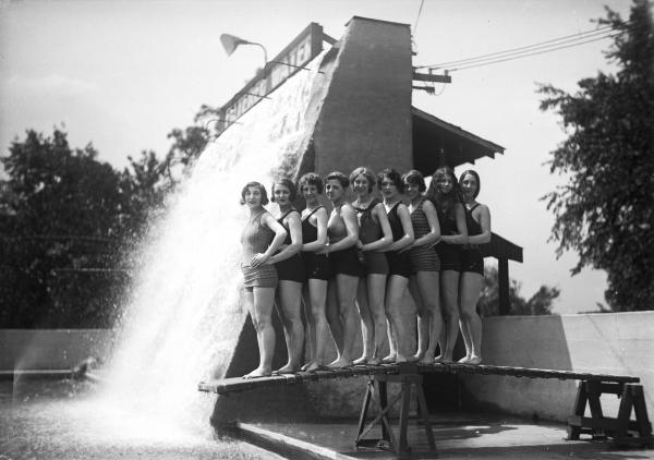 Women on diving board at Olentangy Park photograph