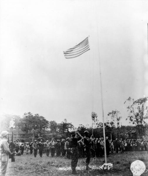 Raising the American flag in Luzon
