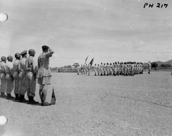 37th Infantry Division Color Guard during review