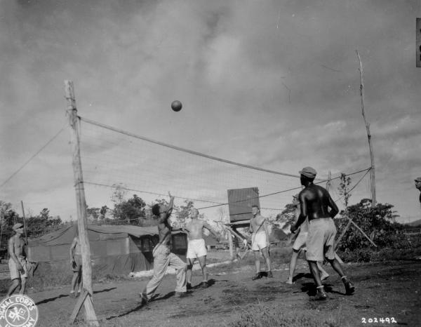 77th Anti-Aircraft Artillery playing volleyball