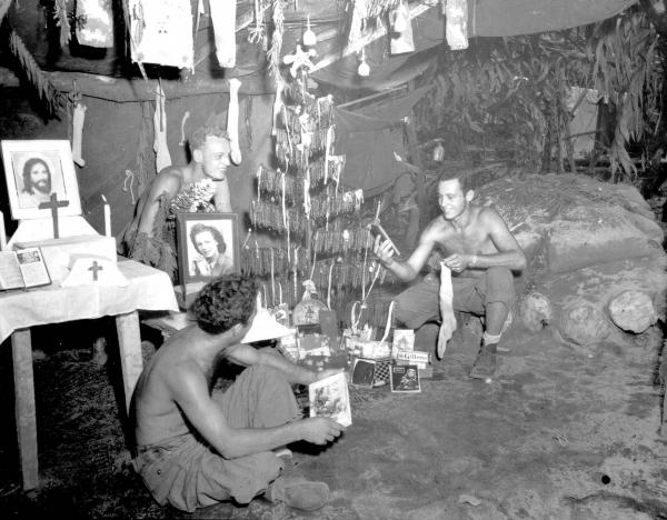 37th Infantry Division soldiers celebrating Christmas
