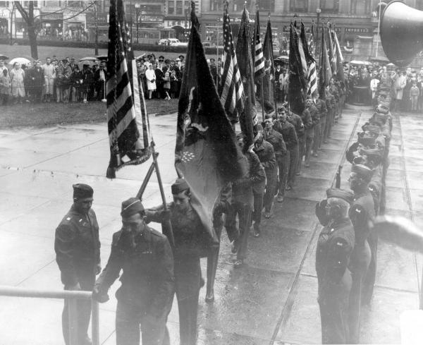 37th Infantry Division turning over flags