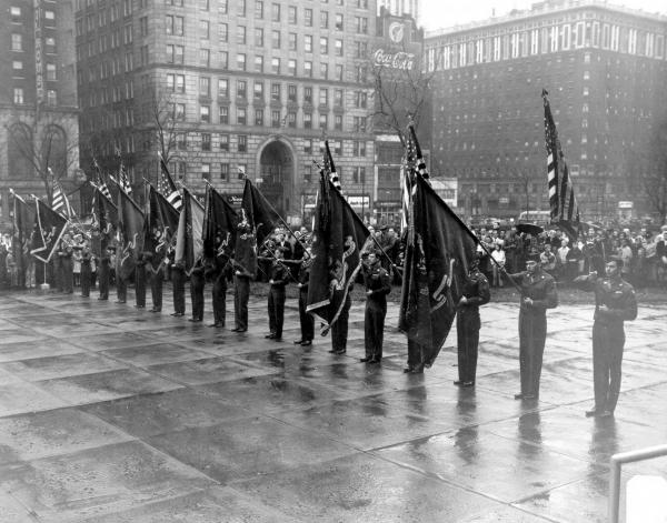 37th Infantry Division turning over flags at Ohio Statehouse