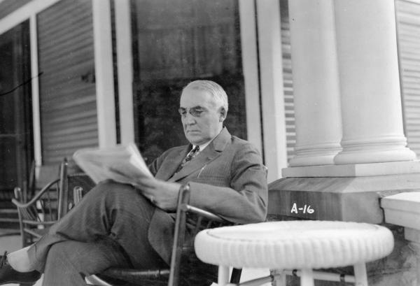 Warren G. Harding on his front porch