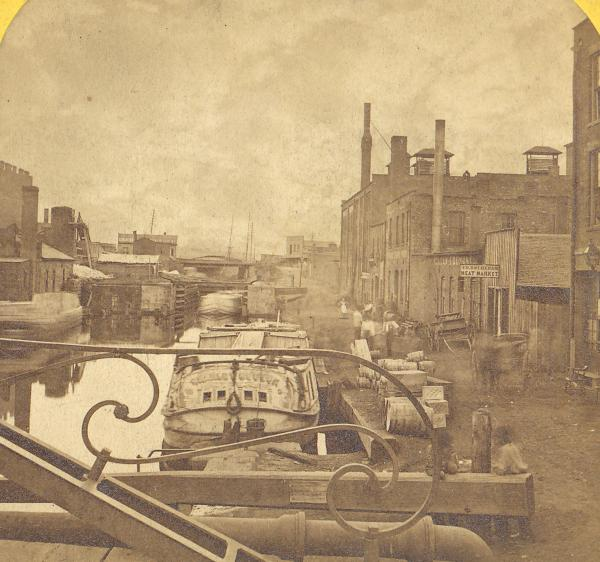 Canal boat in Cleveland stereograph