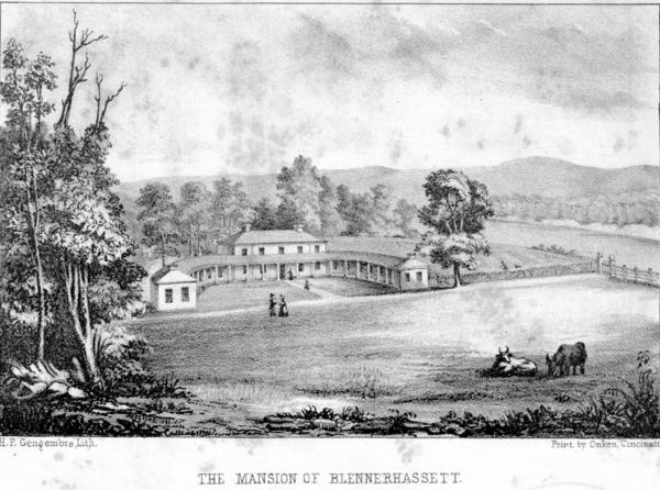 Harmon Blennerhasset's mansion on the Ohio River lithograph