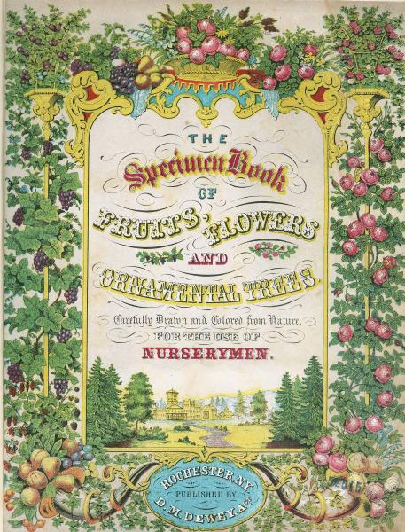 'Specimen Book of Fruits, Flowers, and Ornamental Trees' title page