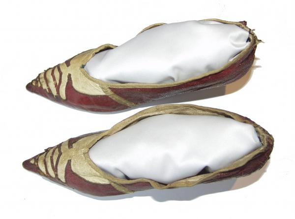 Red and white leather shoes