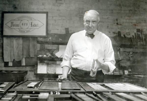 Warren G. Harding setting type at the Marion Star photograph