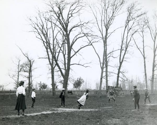 Stick ball game photograph