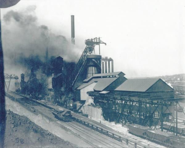 Youngstown Sheet and Tube Company's Campbell Works cast house and blast furnace