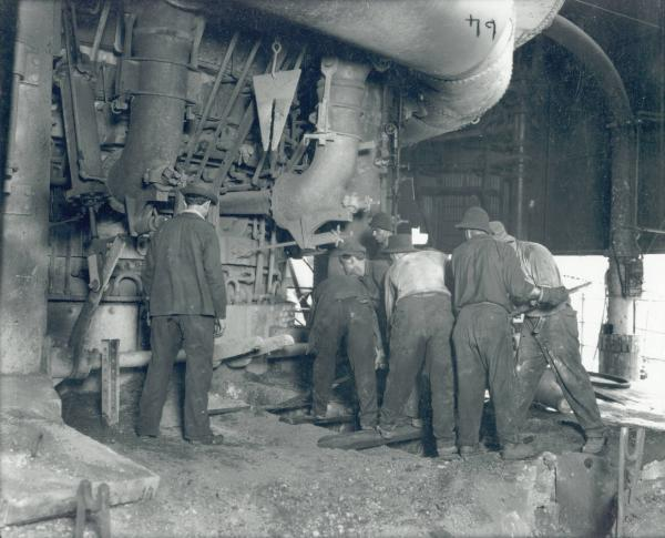 Tapping a furnace at Campbell Works' cast house