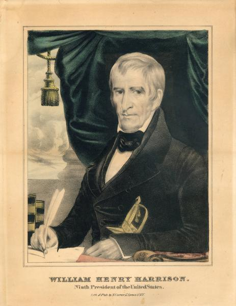 William Henry Harrison colored lithograph