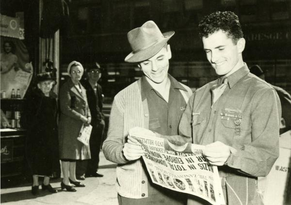 Victory in Europe newspaper photograph