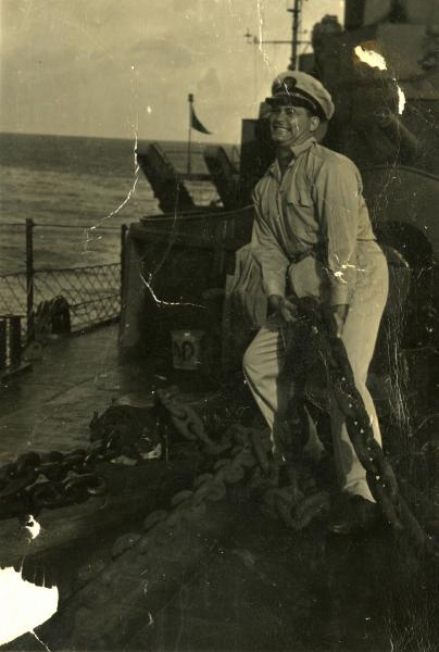 Woody Hayes with anchor on board U.S.S. Rinehart photograph