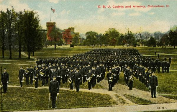 Ohio State University cadets and armory postcard