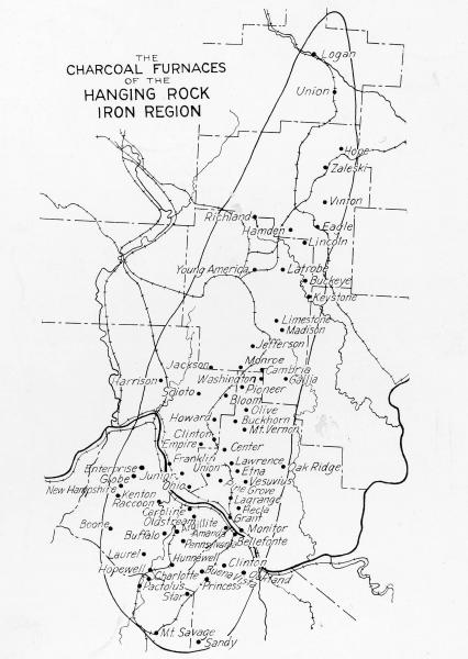 'Charcoal Furnaces of the Hanging Rock Iron Region' map