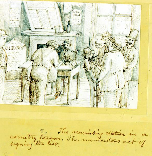 'Recruiting Station in a Country Tavern' illustration
