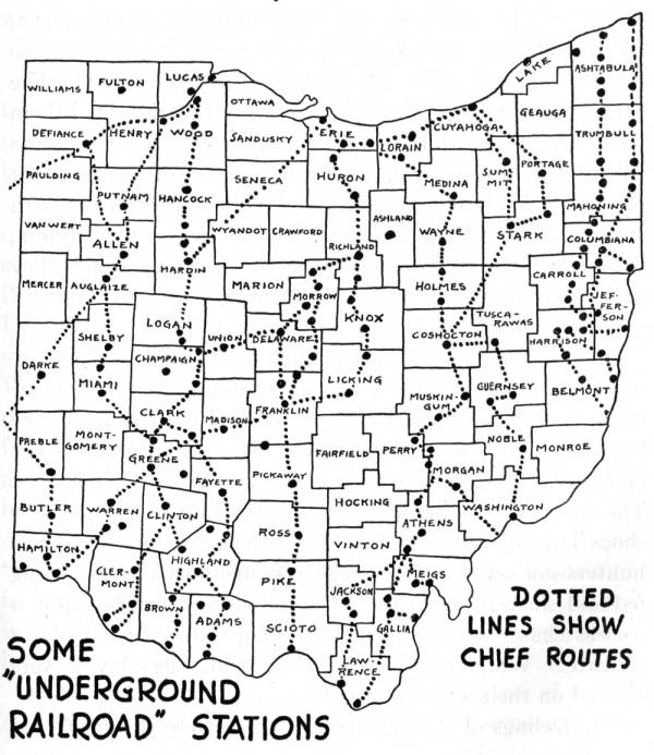 Underground Railroad Stations map