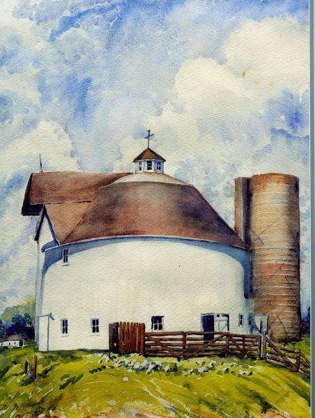 Round Barn and Silo painting