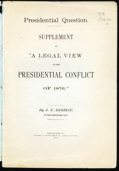 Presidential Conflict of 1876 pamphlet cover