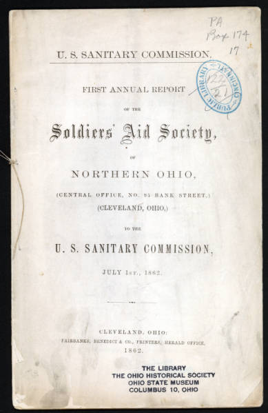 Soldiers' Aid Society of Northern Ohio report title page
