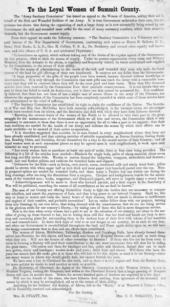 Soldiers' Aid Society of Akron broadside
