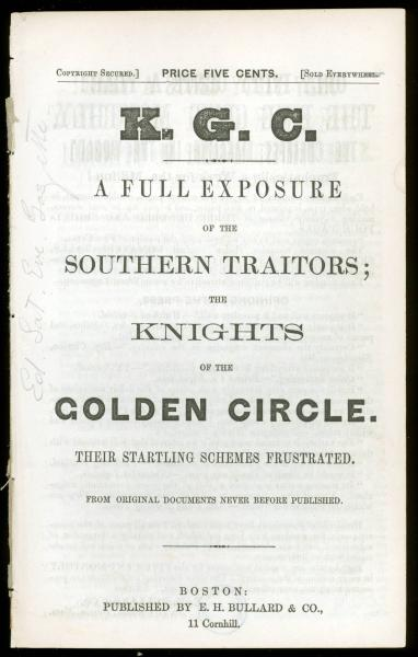 'A Full Exposure of the Southern Traitors' pamphlet title page