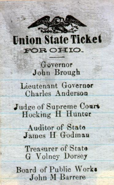 Union State Ticket for Ohio