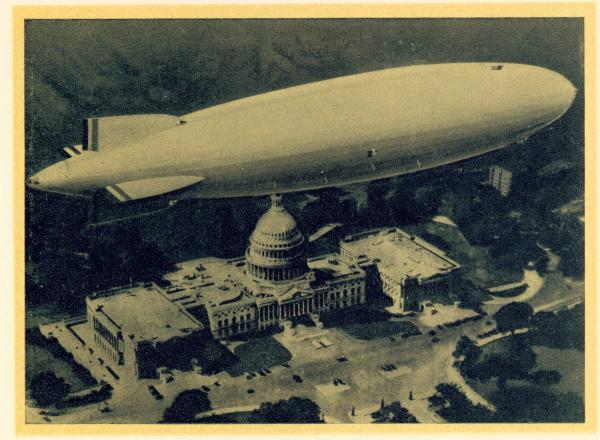 Airship over US Capitol building illustration