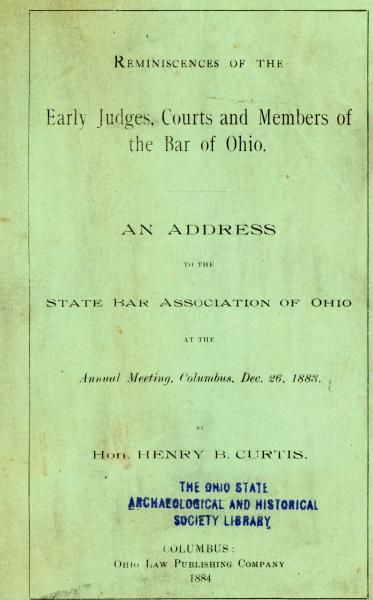 'Reminiscences of the Early Judges, Courts and Members of the Bar of Ohio' pamphlet cover